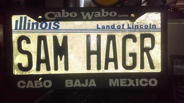 Real Sammy Hagar plate spelled samhagr with Cabo Wabo Cabo Baja ...