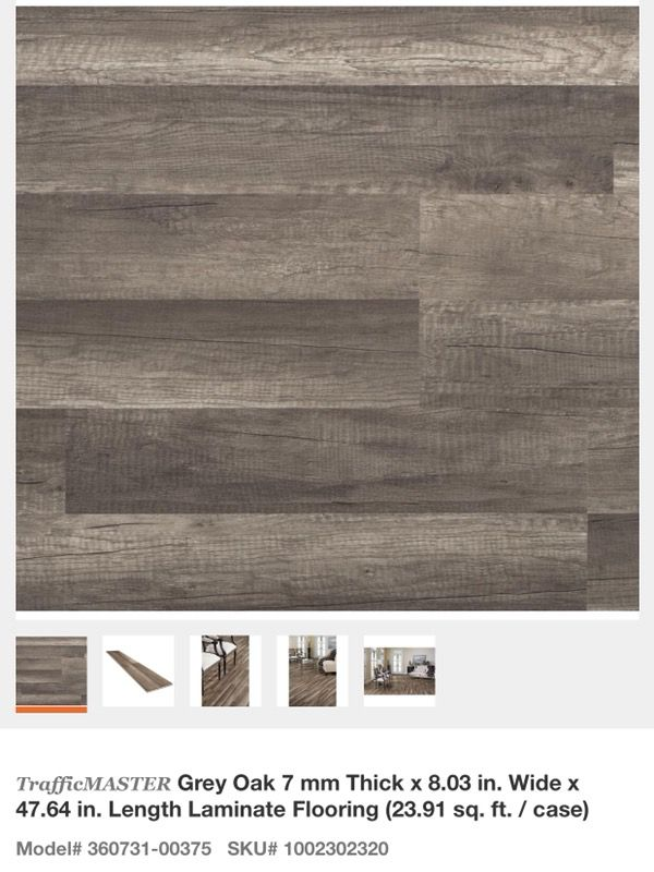 Trafficmaster Grey Oak 7 Mm Thick X 8 03 In Wide 47 64 Length Laminate Flooring For Glendale Az Offerup