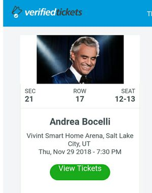 Andrea Bocelli Tickets for Nov. 29 for Sale in Millcreek, UT