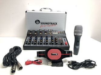 Studio 6 Kit.Mixer 6 Channels.Computers interface.Bluetooth, USB, MP3.Wired microphone.Sounds effects . Thumbnail