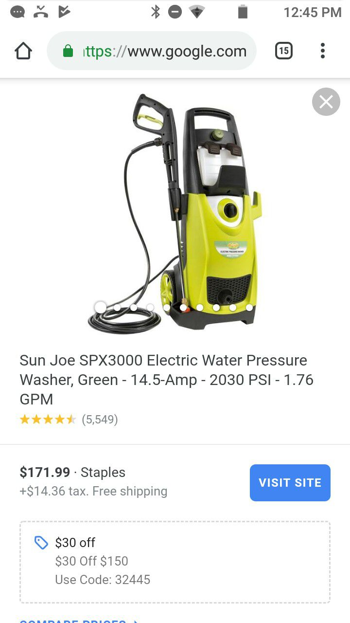 Sunjoe Pressure Washer SPX3000