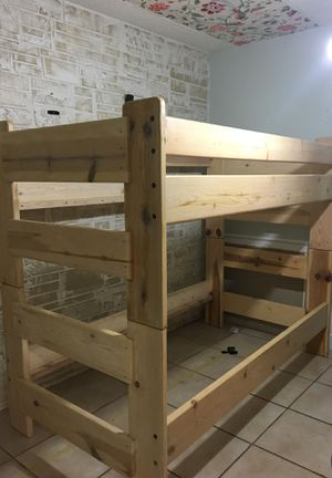 WOODEN BUNKED BED WITH LADDER & PLATFORM for Sale in New Smyrna Beach, FL