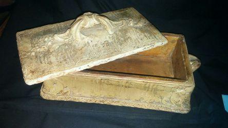 "Hand made ceramic box approx. 15"" x 7"" Thumbnail"