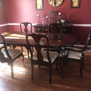 Dining table with 6 chairs includes buffet (decor not included) for sale  Broken Arrow, OK