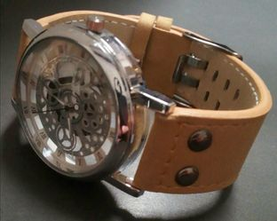 See-Thru Hollow Dial Watch -Brand New -All Glass Front & Back Dial Showing Parts Inside -Leather Strap Thumbnail
