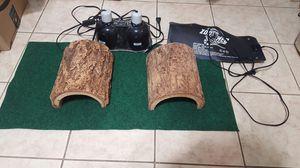 Reptile hides, heat pad, carpet and dual dome light fixture for Sale in Alexandria, VA