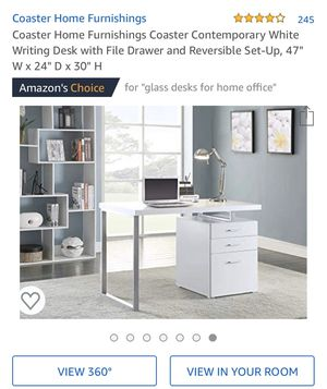 Photo Coaster Contemporary White Computer Writing Desk with File Drawer and Reversible Set-Up
