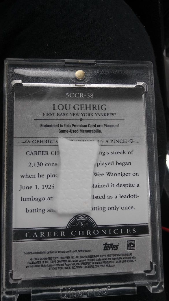 2010 Topps career Chronicles Lou Gehrig Jersey card 14/25