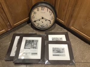 Wall Clock (Sterling & Noble Clock Company) and 4 New Wooden Frames for Sale in Phoenix, AZ