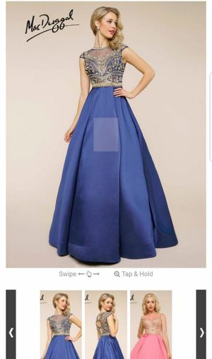 e8a5debd9a2 Used once for wedding blue with gold Mac Duggal long Prom evening gown dress  Beaded for