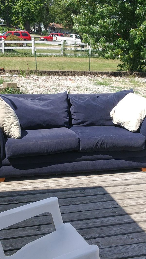 Sofa Express Brand Blue Cloth Couch With Overstuffed Pillows Asking 50 For