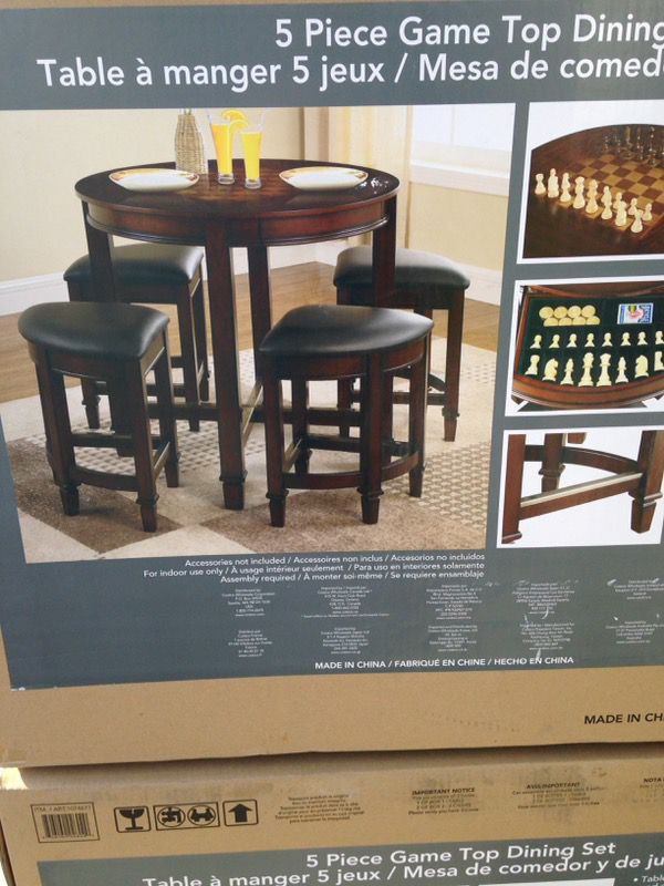 5 Piece Game Top Dining Set Table Brand New In The Box Never Been Used Costco Item Model Number Swc021602 The Measurement Are In The Picture Show For Sale In Los