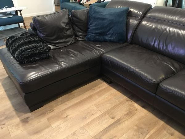 Z Gallerie Brooklyn Brown Leather Sectional For Sale In