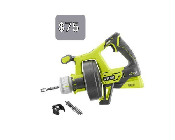 RYOBI ONE+ 18V Hybrid Drain Auger (Tool Only) with Auger Grease Cutter and Bulb Tip Kit