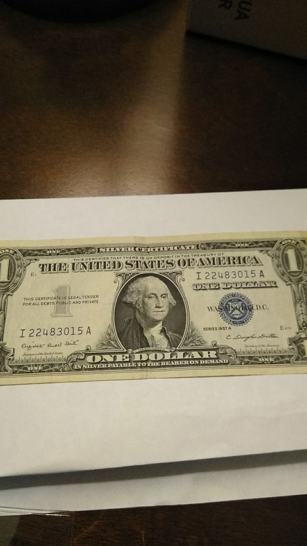 1957 Silver Certificate Dollar Bill Series A Image Collections