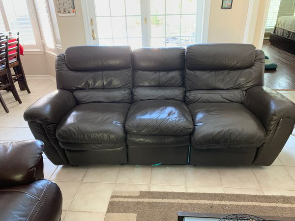 Italian Brown Leather Dual Reclining Sofa 3pcs Sugar Land Tx
