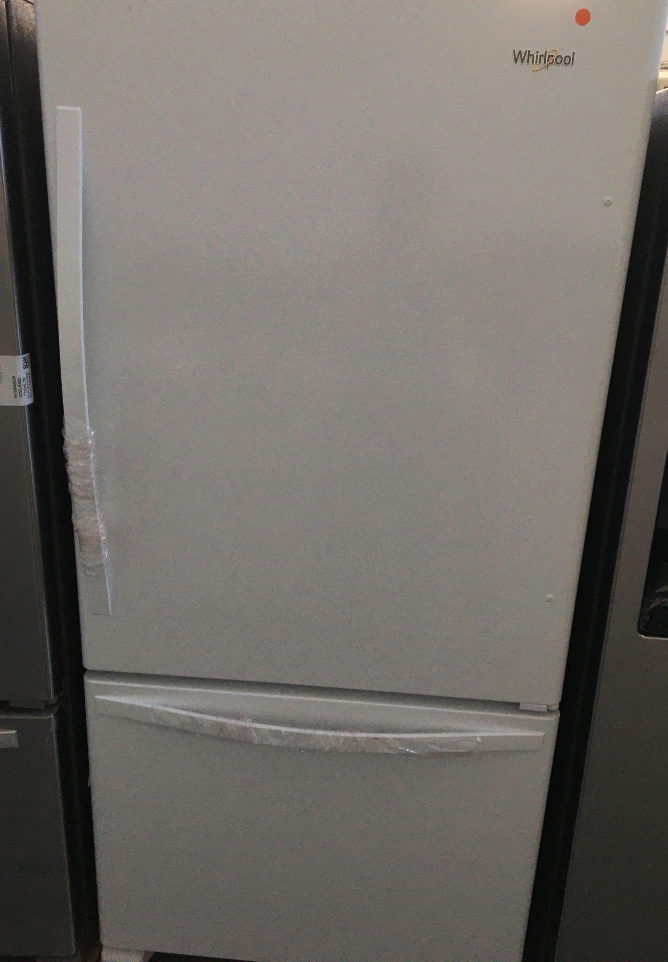 "Whirlpool 33"" 22.07 Cu. Ft. Bottom Freezer Refrigerator - Smooth White"
