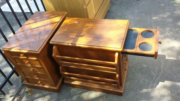 Two End Tables With Drawers Cup Holder And Magazine Rack