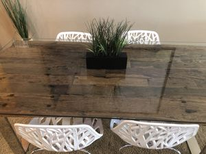 Modani Reclaimed Railway Wood, Tempered Clear Glass Dining Table for Sale in San Francisco, CA