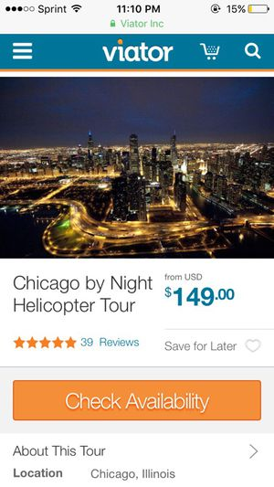 Chicago by Night Helicopter Tour (As seen on viator) for Sale in Chicago, IL