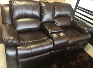 3-PC Brown Leather Living Room Recliner Set for Sale in Sugar Land, TX