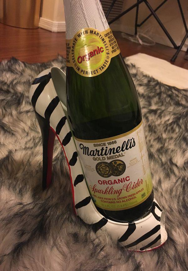 Wine Bottle Holder Zebra Print Shoe