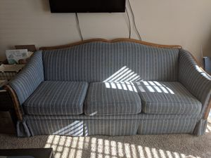 Blue and White Striped Couch for Sale in Wake Forest, NC