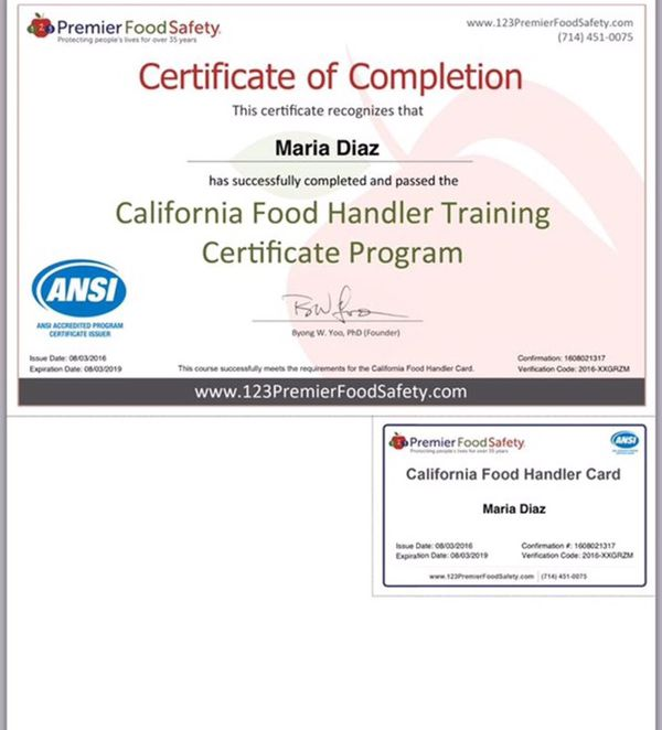 FOOD HANDLERS CERTIFICATE/CARD For Sale In Chino Hills, CA