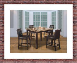 Counter height dining table 4 leather chairs for Sale in Temple Hills, MD
