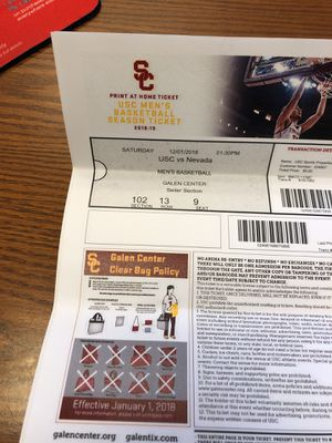 USC BASKETBALL Dec 1st 1:30 pm for Sale in San Diego, CA