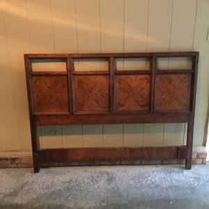 Solid fruitwood queen headboard with metal frame for Sale in Cary, NC