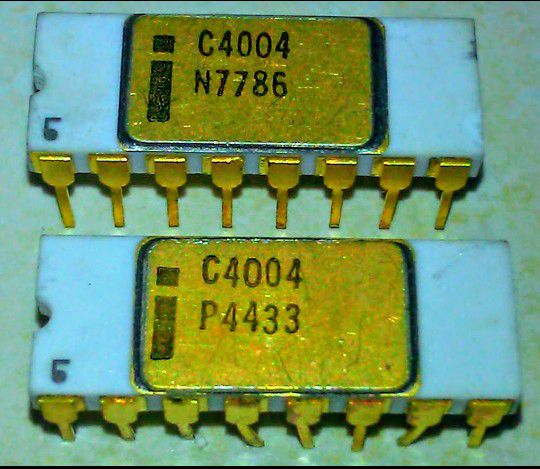 2 Pcs. Gold Intel 4004 microprocessors In Virginia