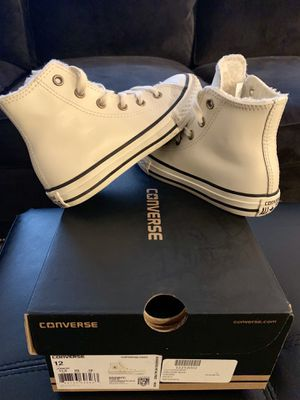 Kid's High Top Converse (Cream Leather!) size 12 for Sale in Gaithersburg, MD