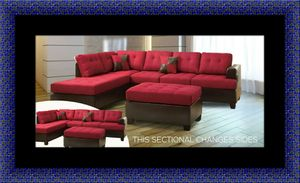 Red sectional with ottoman for Sale in Adelphi, MD