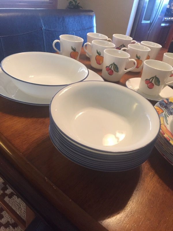 40 Piece corelle dishes- discontinued fruit basket pattern ...