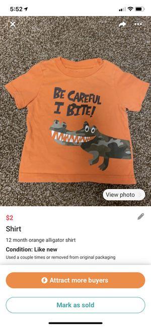 Photo 12 month old boy orange alligator shirt