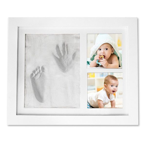 Baby Boy Girl Handprint Footprint Picture Frame-Cast Clay Imprint of ...