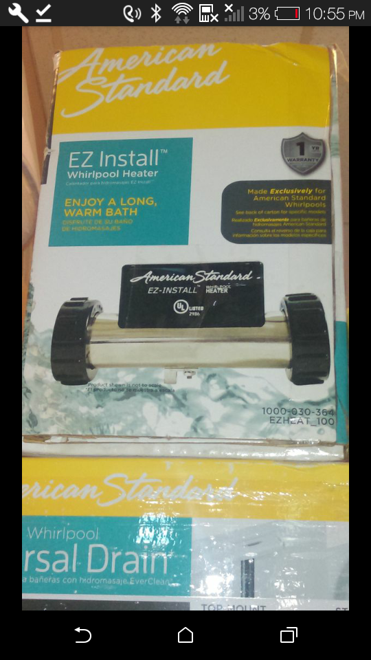 American Standard EZ Install 1500-Watt Whirlpool Heater for Sale in ...