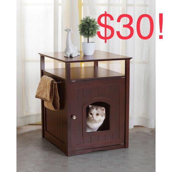 Cat Litter Box Furniture Enclosure In Espresso Color For Sale In