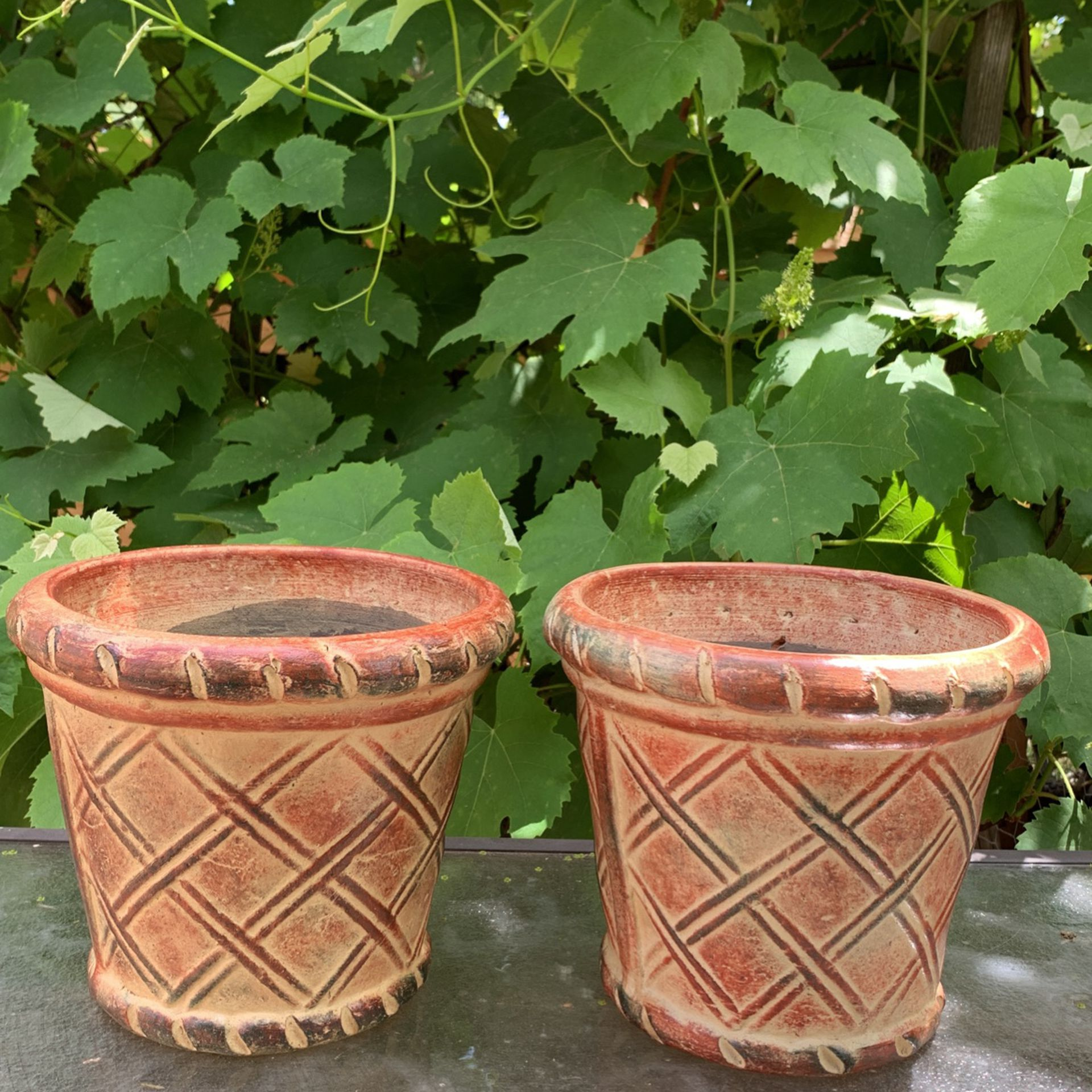 Mexican Clay Planter Pot (2 Pieces )