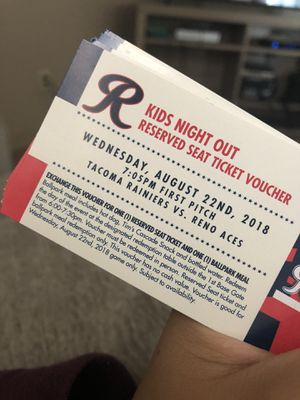 Tac. Rainiers VS. Reno Aces for Sale in Lakewood, WA