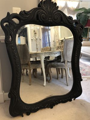 X Large Antique Wood Mirror Hand Painted in chalk charcoal paint. for Sale in Gainesville, VA