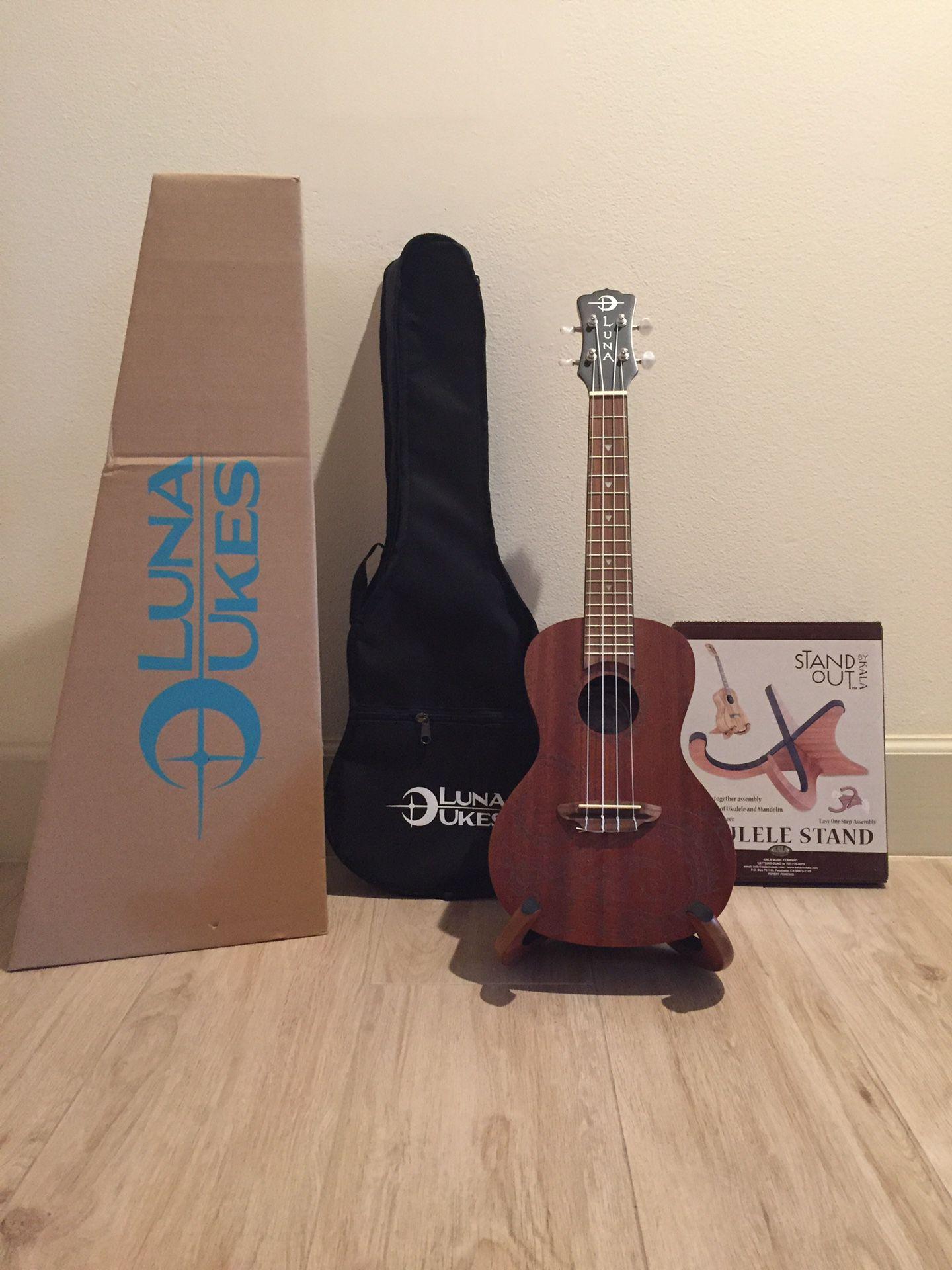 Musical Luna Guitars Tattoo Concert Mahogany Ukelele Bundle