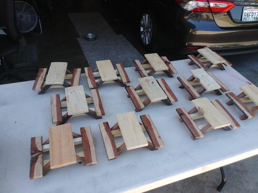 Rustic squirrel picnic tables