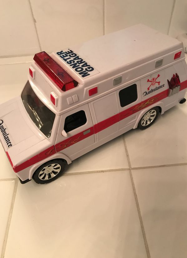 """Vintage Large Scale """"Monster Garage"""" Ambulance Toy  Pop A Wheelie  Battery  operated  $40 or best offer  for Sale in Orange, CA - OfferUp"""