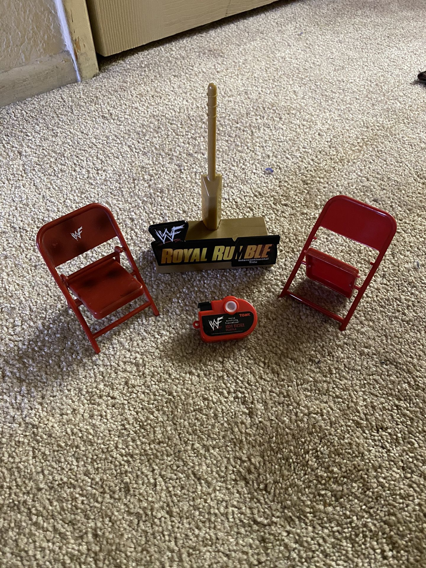 WWF Wrestling Toy Accessories 2 Chairs camera Royal Rumble Stand WWE ecw tna wcw aew