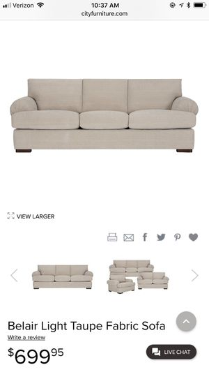Belair Light Taupe Sofa for Sale in Fort Lauderdale, FL