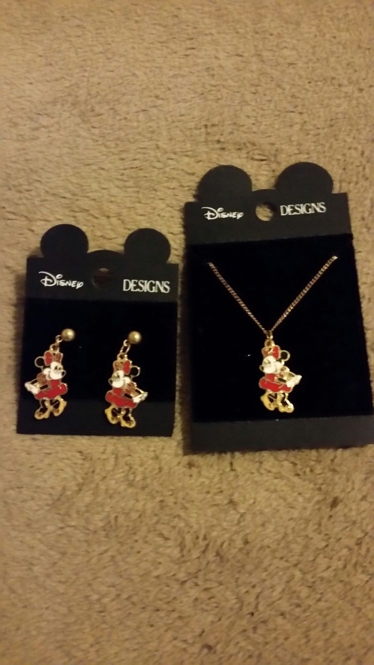 Disney earrings and necklace
