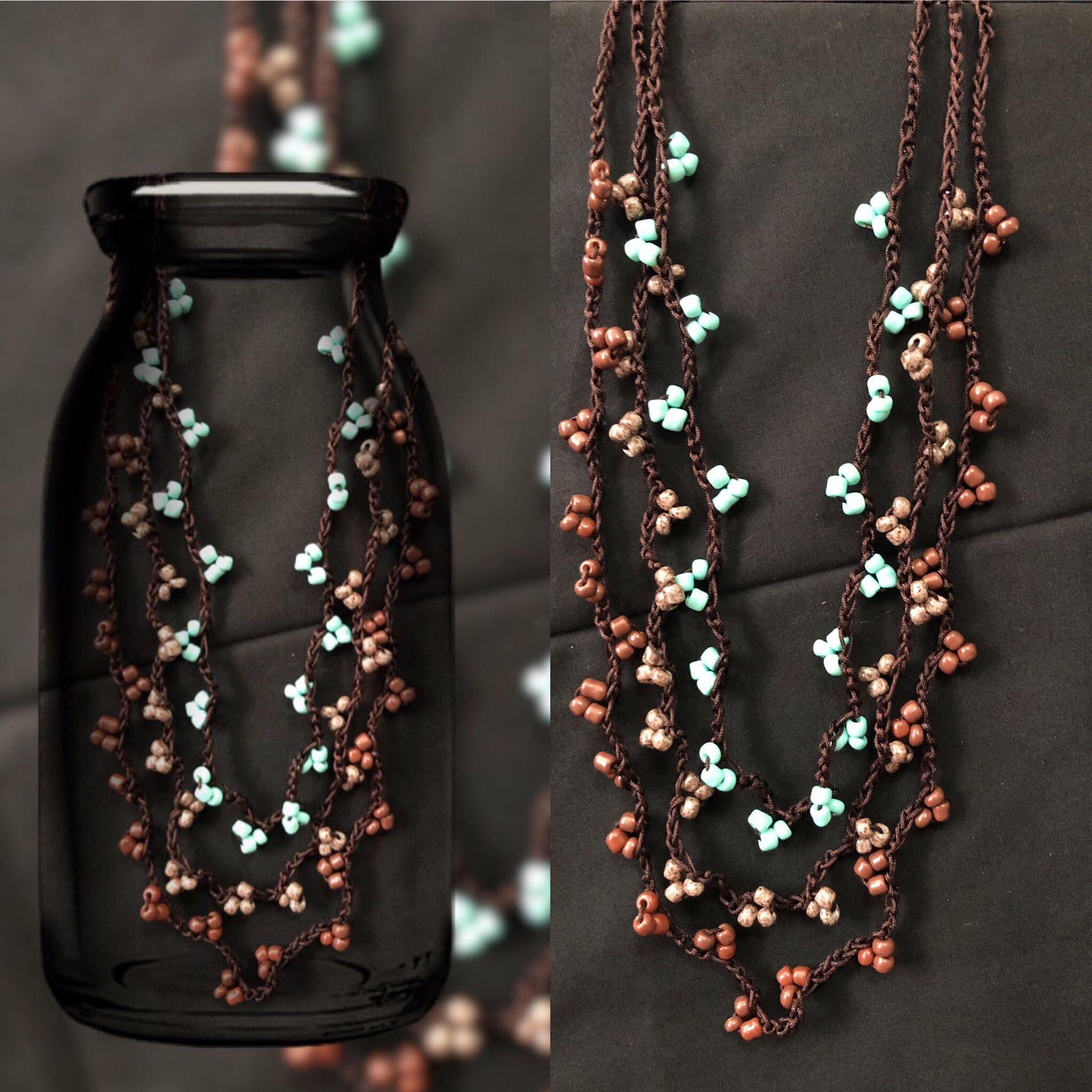 Handmade crochet glass beads necklace