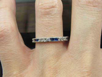 Size 7.75 Sterling Silver Blue Spinel & CZ Band Ring Vintage Statement Engagement Wedding Promise Anniversary Bridal Cocktail Friendship Thumbnail